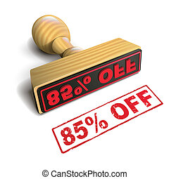 stamp 85% off with red text on white