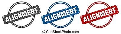 stamp., alignement, signe., ensemble, étiquette