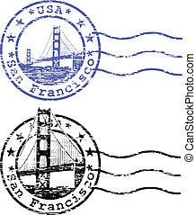 Stamp and cityscape of San Franciso
