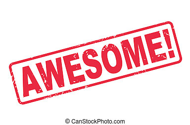 stamp awesome with red text over white background