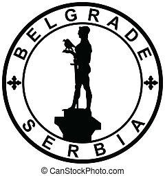 Stamp-Belgrade-Serbia - Illustration of a symbol of Belgrade...