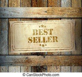 Stamp Best Seller label old wooden box