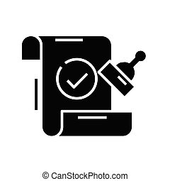 Stamp black icon, concept illustration, vector flat symbol, glyph sign.