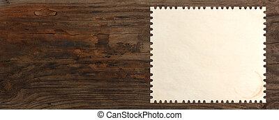 stamp blank paper wooden table background panorama