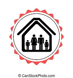 stamp border with silhouette family in house pictogram