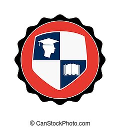 stamp circular with shield elements graduation