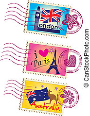 Country stamps icon collection