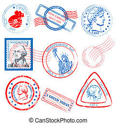 Stamp Collection - rubber stamp collection vector eps10