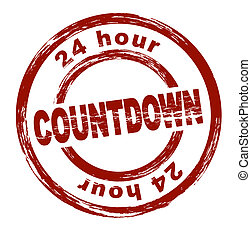 Stamp - Countdown - A stylized red stamp showing the term ...