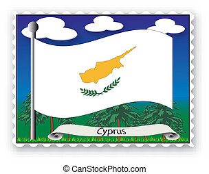 Stamp Cyprus - Stamp with flag from Cyprus