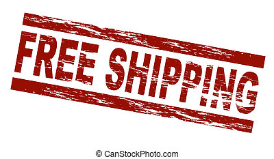 Stamp - Free shipping - Stylized red stamp showing the term...