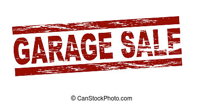 Stylized red stamp showing the term garage sale. All on white background.