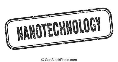 stamp., grunge, nero, quadrato, segno, nanotechnology