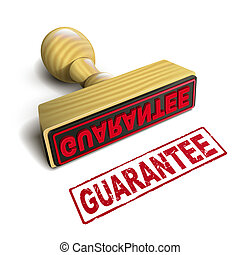 stamp guarantee with red text on white