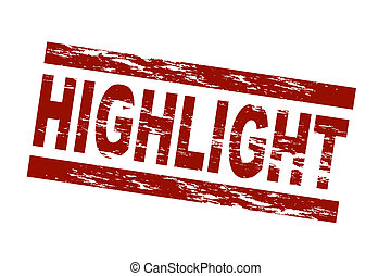 Stamp - Highlight - Stylized red stamp showing the term...