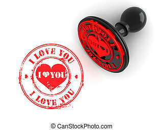 Stamp i love you on white isolated background