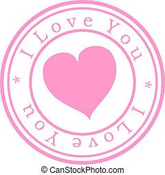 "Stamp \"" I love you \\\"". Pink. Isolated"