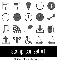 Stamp. Icon set 1. Gray icons on white background.