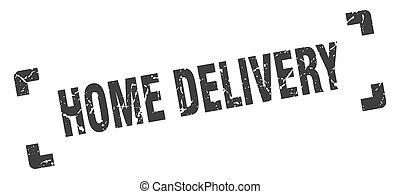 stamp., isolé, livraison, fond, maison, carrée, grunge, blanc, signe