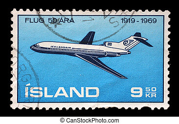 Stamp issued in Iceland shows Boeing 727, the 50th Anniversary of the Icelandic Air Traffic, circa 1969.