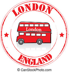 Stamp London - Stamp bus red