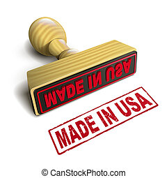 stamp made in USA with red text on white