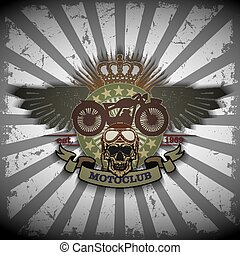 Stamp Moto club with a skull and wi