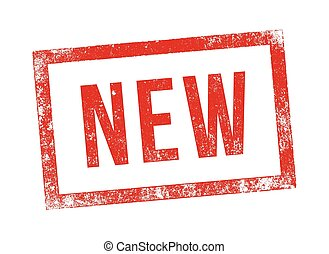 """Stamp new - Vector illustration of the word """"New"""" in red ink..."""