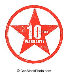 Stamp of 10 year warranty sign vector