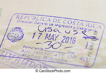Stamp of arrival in Costa Rica