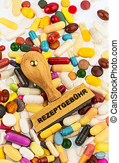 stamp on colorful pills - stamp on colored tablets...