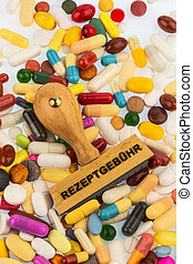 stamp on colorful tablets photo icon for medications,...