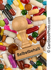 stamp on colorful tablets photo symbol for drugs, health...