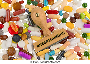 stamp on colorful tablets, symbol photo for medications,...