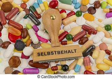 stamp on colorful tablets, symbol photo for medicines,...