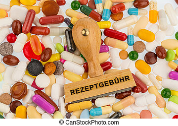 stamp on colorful tablets, symbolic photo for medications,...
