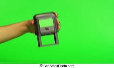 Stamp on documents. Close up. Green screen