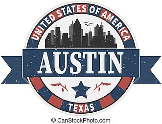 Stamp or label with text Austin, Texas inside, vector illustration