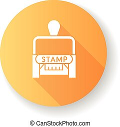 Stamp orange flat design long shadow glyph icon. Apostille ...