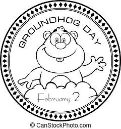 Stamp print Groundhog Day