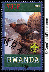 Stamp printed by Rwanda shows Eagle