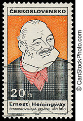 Stamp printed in Czechoslovakia shows Ernest Hemingway - ...