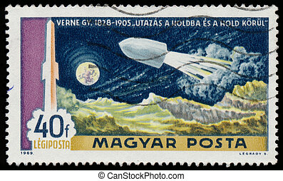 Stamp printed in Hungary shows rocket by Jules Verne - ...