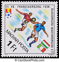 """Stamp printed in Hungary shows the """"World Cup Football Champions"""