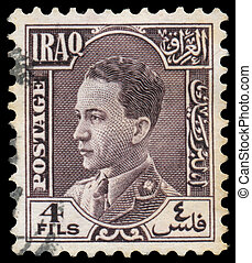Stamp printed in Iraq shows King Ghazi