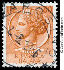 Stamp printed in Italy shows Italia Turrita - ITALY - CIRCA...
