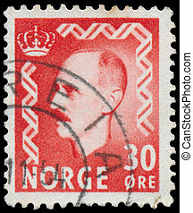 Stamp printed in Norway shows portr - NORWAY - CIRCA 1950: A...