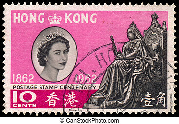 Stamp printed in the Hong Kong shows Queen Elizabeth II