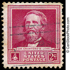 Stamp printed in USA shows portrait of  Dr. Crawford W. Long