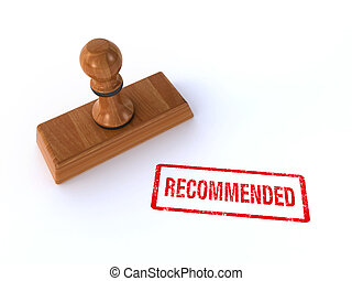 """3d render of a rubber stamp showing """"recommended"""" on the white background"""